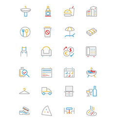 Hotel and Restaurant Colored line Icons 8 vector
