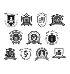 Icons set for college or state university vector