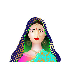 Indian woman in colorful sari with luxury jewelry vector