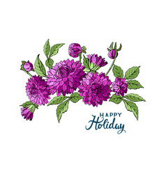 isolated buquet of purple dahlia flowers and happy vector image