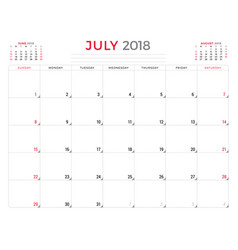 July 2018 calendar planner design template week vector