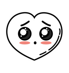 Kawaii cute surprised heart love vector