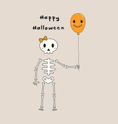 Kawaii halloween card with skeleton vector