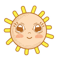 Kawaii happy sun with cute eyes and cheeks vector