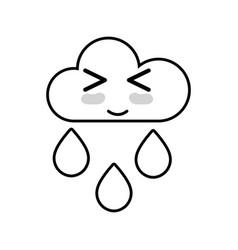 line kawaii nice funny cloud raining vector image