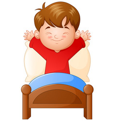 Little boy waking up in a bed on white background vector