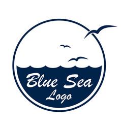Logo sea with birds vector