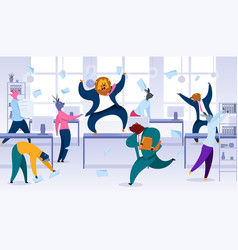 Losing control at work in office concept vector