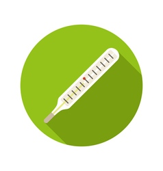 Medical thermometer flat style icon on round badge vector
