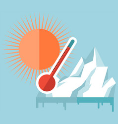 Melting glaciers due to global warming rising air vector