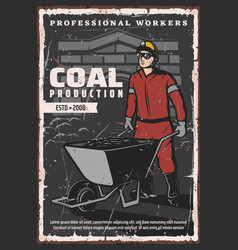 Miner profession coal mining production industry vector