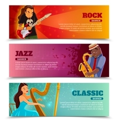 Music performance flat banners set vector image