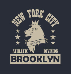 new york city brooklyn typography print with lion vector image