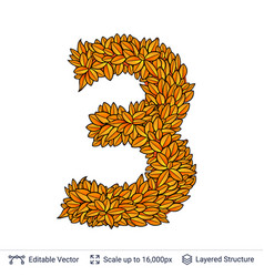 Number three of autumn leaves vector
