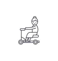 Old woman on scooter line icon sign vector