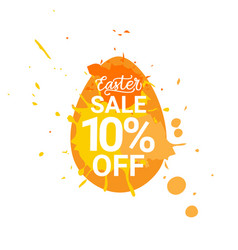 Orange easter sale badge egg with paint splash vector
