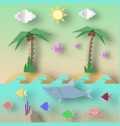 Origami style crafted out paper vector