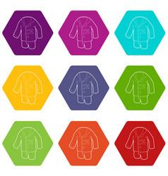 pajamas icons set 9 vector image