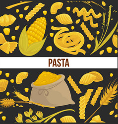 pasta poster design for italian food cuisine or vector image