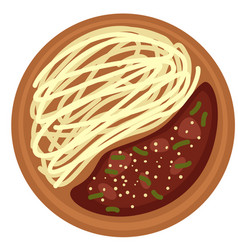 pasta with soy sauce and meatballs or poultry vector image