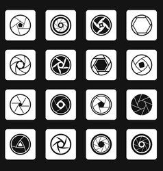 Photo diaphragm icons set squares vector