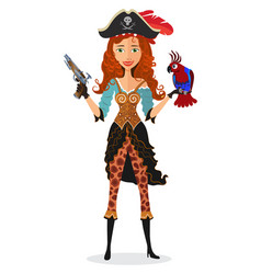 pirate cheerful girl with parrot and powder gun vector image
