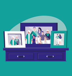 portrait with family members picture in drawer vector image