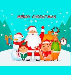 santa claus pig deer snowman and elf vector image