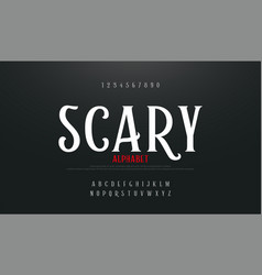 scary movie alphabet font typography horror vector image
