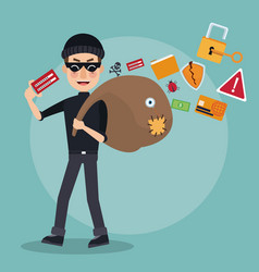 Scene color thief man hacker with stealing vector