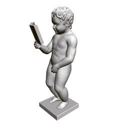 Sculpture a pissing boy reading a book 3d vector