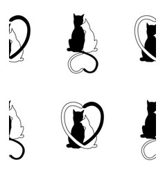 seamless pattern from silhouette of cat couple vector image