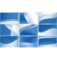 Set business cards with blue stripes all vector