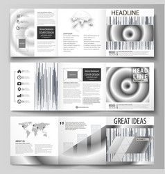 set of business templates for tri fold square vector image vector image
