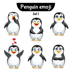 Set of cute penguin characters set 1 vector