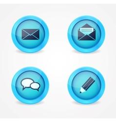 Set of glossy social icons vector image