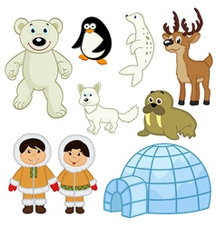 Set of isolated animals and people in the Arctic vector