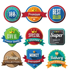 Set of retro vintage badges and labels 05 Flat des vector image