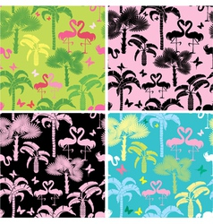 Set of seamless patterns with palm trees butterfl vector image