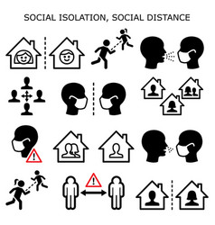 Social isolation social distance icons vector