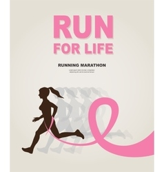 Sport woman with running pink ribbon breast vector