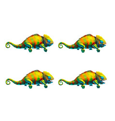 Sprite sheet cute chameleon game art animation vector