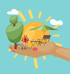 summer concept sun in hand and other items vector image
