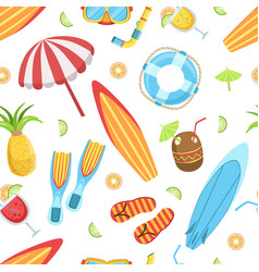 Summer time seamless pattern tropical beach vector
