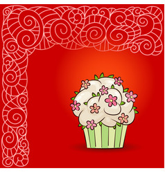 sweet cupcake with flowers and leaves vector image vector image
