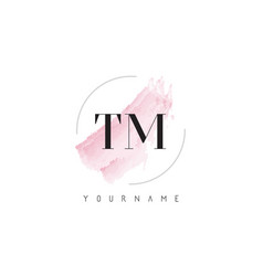 Tm t m watercolor letter logo design with vector