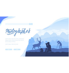 tourists take photos deer and horses vector image
