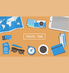 travelers desktop with a camera plane tickets vector image