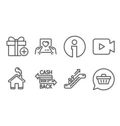 Video camera escalator and cashback card icons vector