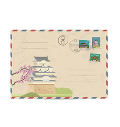 Vintage postal envelope with japan stamps vector